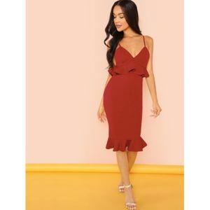 NEW Red Spaghetti Strap Ruffle Formal Midi Dress